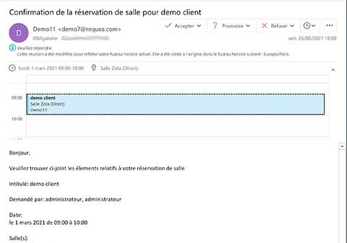 Notifications de réservation par email